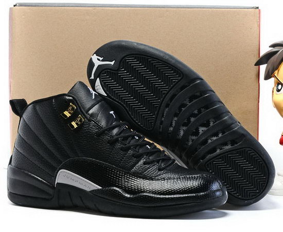 Air Jordan Retro 12 All Black White Outlet